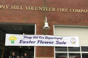 Flower and other Easter items are being sold at the Stony Hill Volunteer Fire Company station in Bethel, April 19-21, 2019.