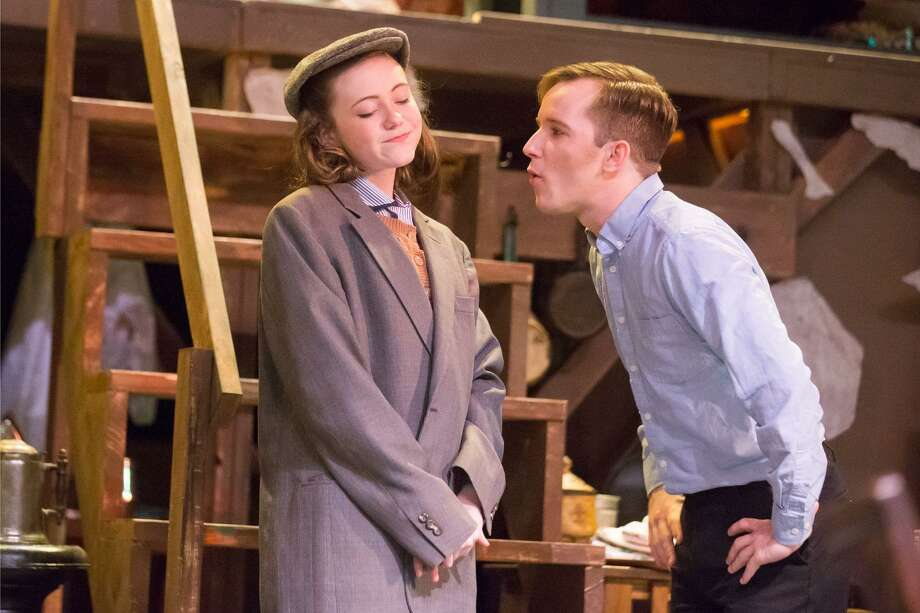 "Katie Kowalik as Anne Frank and Kevin Downs as Peter Van Daan in Stage Right's ""The Diary of Anne Frank"" currently on stage at the Crighton Theatre through April 28. Photo: Photo By Dave W. Clements"