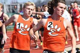 Edwardsville's Roland Prenzler, right, and Jack Pifer will be among the field at Saturday's Winston Brown Track and Field Invitational at Edwardsville. They are pictured running the 1,600-meter race at the Norm Armstrong Invitational at Belleville West.