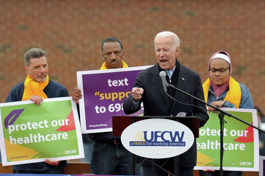 Former US Vice President Joe Biden speaks at a rally organized by UFCW Union members to support Stop and Shop employees on strike throughout the region at the Stop and Shop in Dorchester, Massachusetts on April 18, 2019. (Photo by JOSEPH PREZIOSO / AFP)JOSEPH PREZIOSO/AFP/Getty Images Photo: JOSEPH PREZIOSO / AFP/Getty Images / AFP or licensors