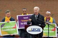 Former US Vice President Joe Biden speaks at a rally organized by UFCW Union members to support Stop and Shop employees on strike throughout the region at the Stop and Shop in Dorchester, Massachusetts on April 18, 2019. (Photo by JOSEPH PREZIOSO / AFP)JOSEPH PREZIOSO/AFP/Getty Images