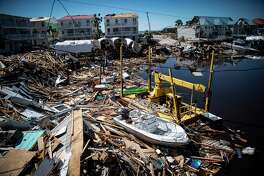 The remains of homes, buildings and boats are seen after Hurricane Michael made land fall along the Florida panhandle on Oct. 12, 2018, in Mexico Beach, Fla.