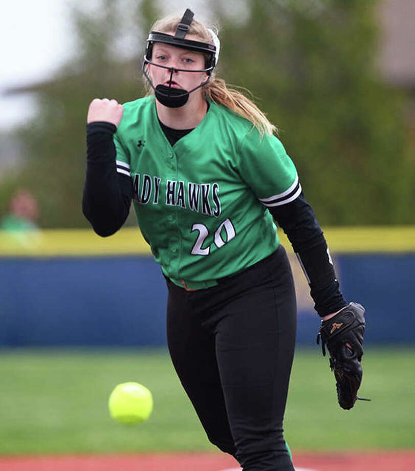 Carrollton's Hannah Rhoades delivers a pitch to the plate during her three-hitter against North Greene on Thursday at Lenz Field in Jacksonville. Photo: Dennis Mathes, Journal-Courier | For The Telegraph
