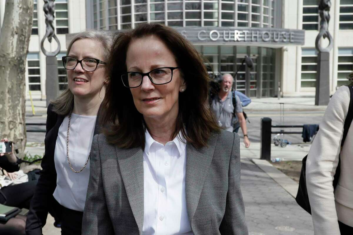 Kathy Russell, the longtime bookkeeper for NXIVM, a cult-like group based in upstate New York that recruited sex slaves for its spiritual leader, leaves Brooklyn Federal Court, Monday, April 8, 2019, in New York. She was sentenced on Wednesday, Oct. 6, 2021. that