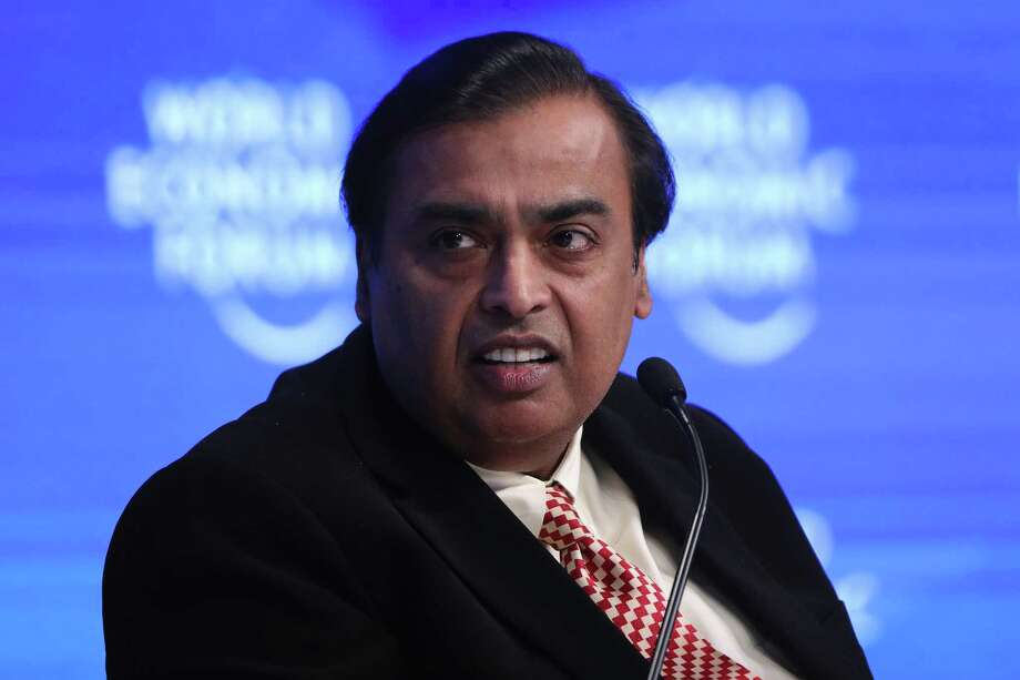 Mukesh Ambani, billionaire and chairman and managing director of Reliance Industries, pauses during a panel session at the World Economic Forum in Davos, Switzerland, in 2017. Photo: Bloomberg Photo By Simon Dawson / Bloomberg