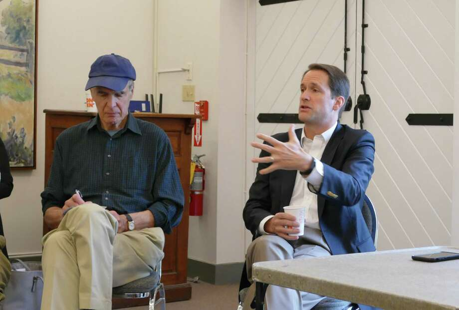 U.S. Congressman Jim Himes answered questions at the New Canaan Advertiser coffee in the New Canaan Historical Society on Friday, April 19. Photo: Grace Duffield / Hearst Connecticut Media / Connecticut Post