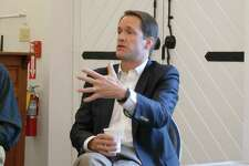 U.S. Congressman Jim Himes answered questions at the New Canaan Advertiser coffee in the New Canaan Historical Society on Friday, April 19.