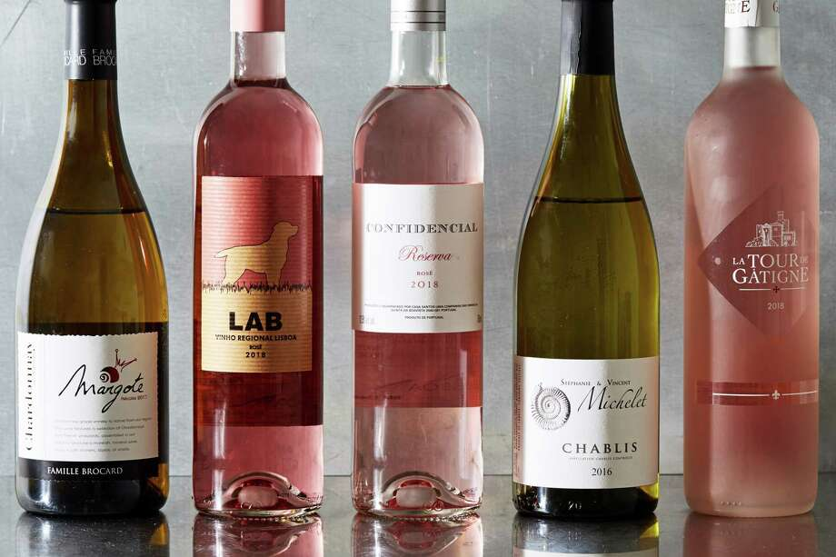 From left: Famille Brocard Margote Chardonnay 2017, Lab Rosé 2018, Confidencial Reserva Rosé 2018, Stephanie et Vincent Michelet Chablis 2016, La Tour de Gatigne Rosé 2018. Photo: Photo For The Washington Post By Stacy Zarin Goldberg / For The Washington Post