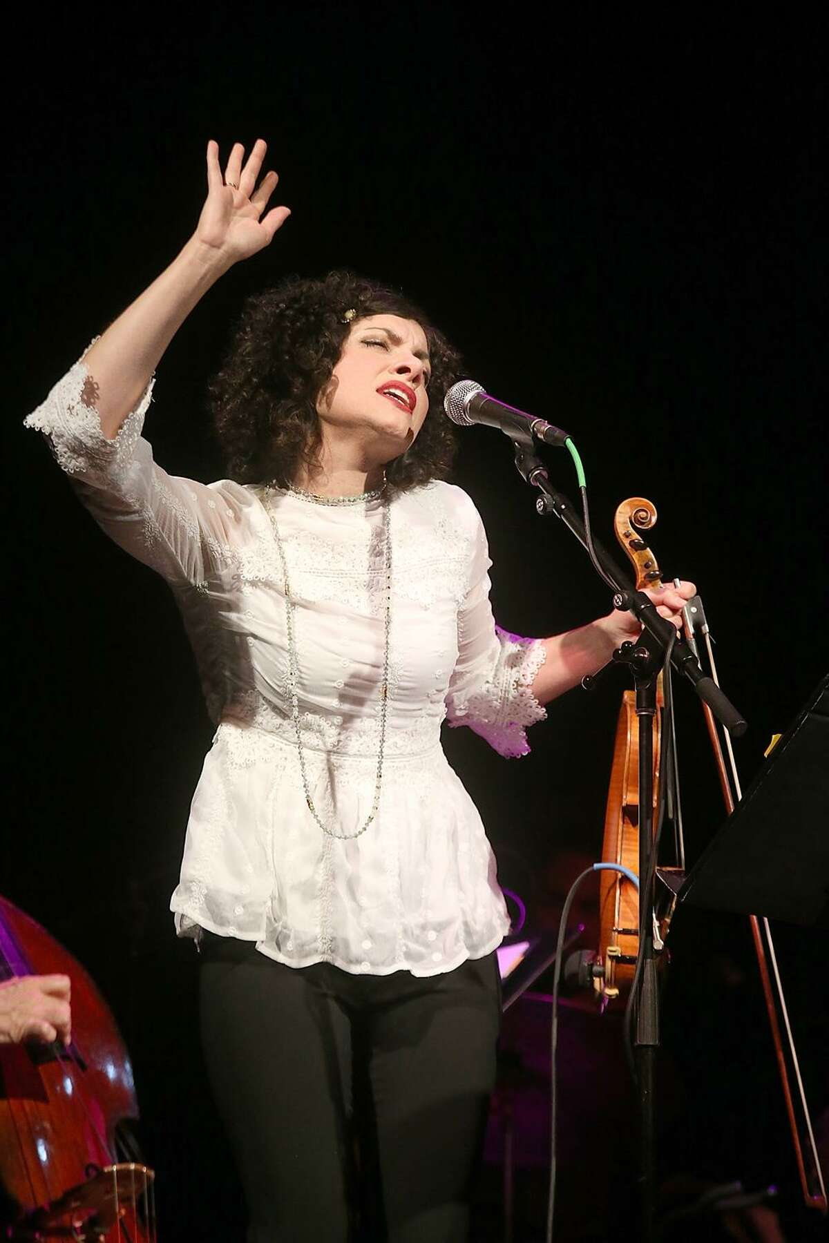"""On Friday, March 7, at Houston's Cullen Theater, """"Texas Monthly"""" LIVE will use music, video, narration and live performances to share stories of the Lone Star State. Here, Carrie Rodriguez, who will lead this year's house band, performs at the first LIVE event last year in Austin."""