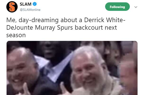 @SLAMonline: Me, day-dreaming about a Derrick White-DeJounte Murray Spurs backcourt next season
