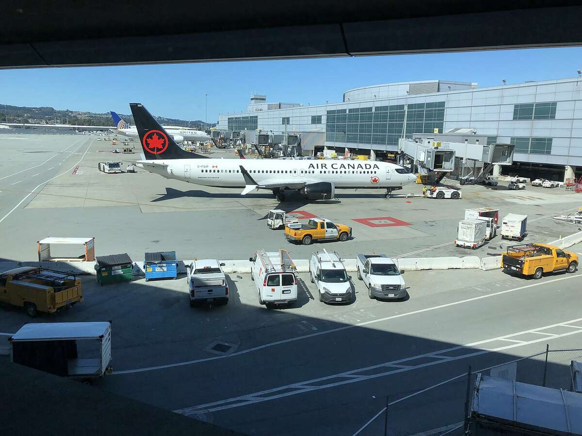An Air Canada 737 MAX that was parked at SFO earlier today is seen at San Francisco International Airport on Wednesday, March 13, 2019 in San Francisco International Airport.