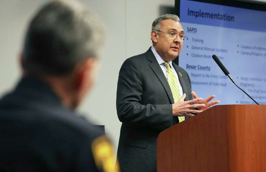 District Attorney Joe Gonzales discusses implementation of the cite and release program on February 13. It is an important part of reform efforts he is launching. Photo: Tom Reel /Staff Photographer / 2019 SAN ANTONIO EXPRESS-NEWS
