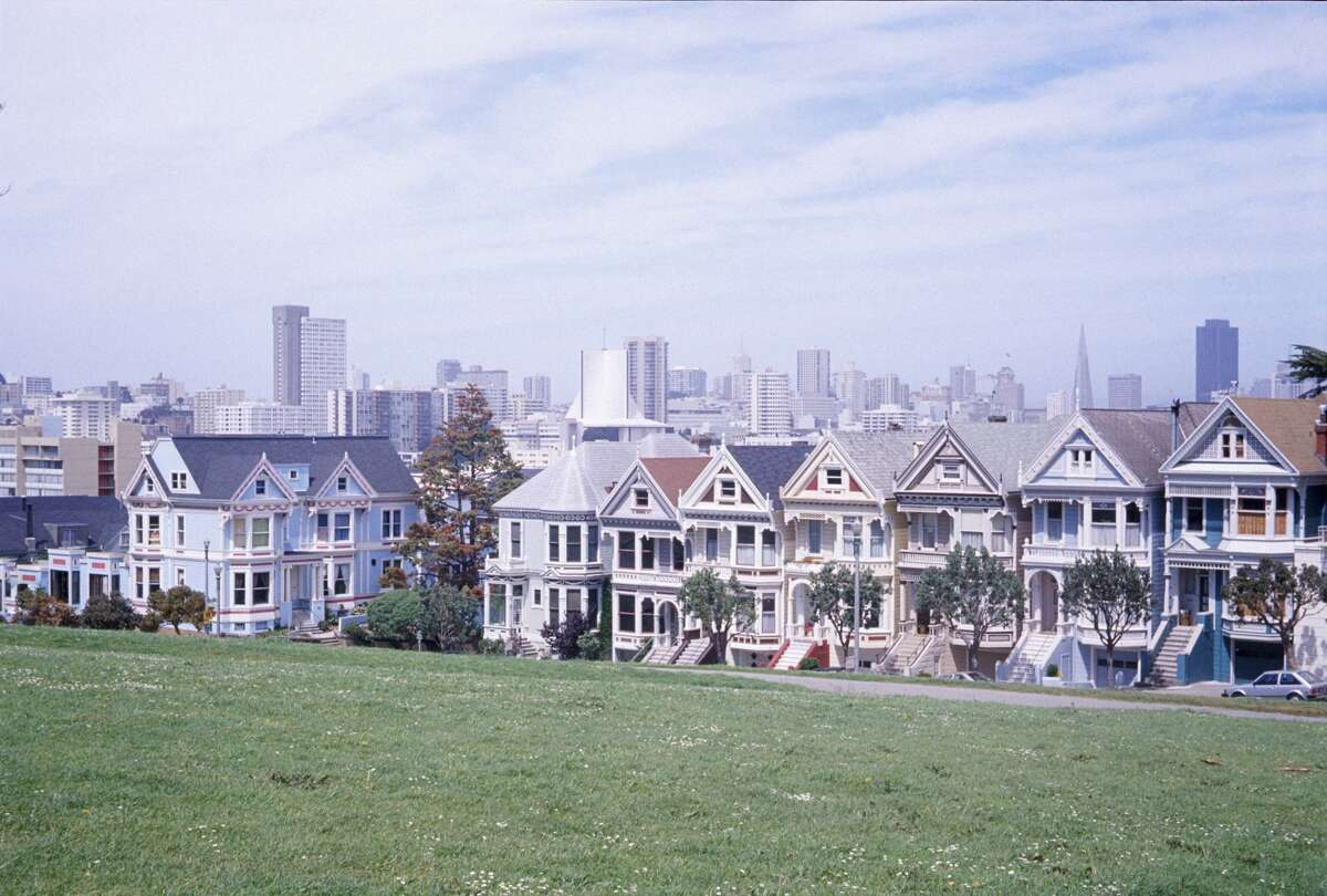 The famous Victorians known as the Painted Ladies in San Francisco's Alamo Square in 1974.