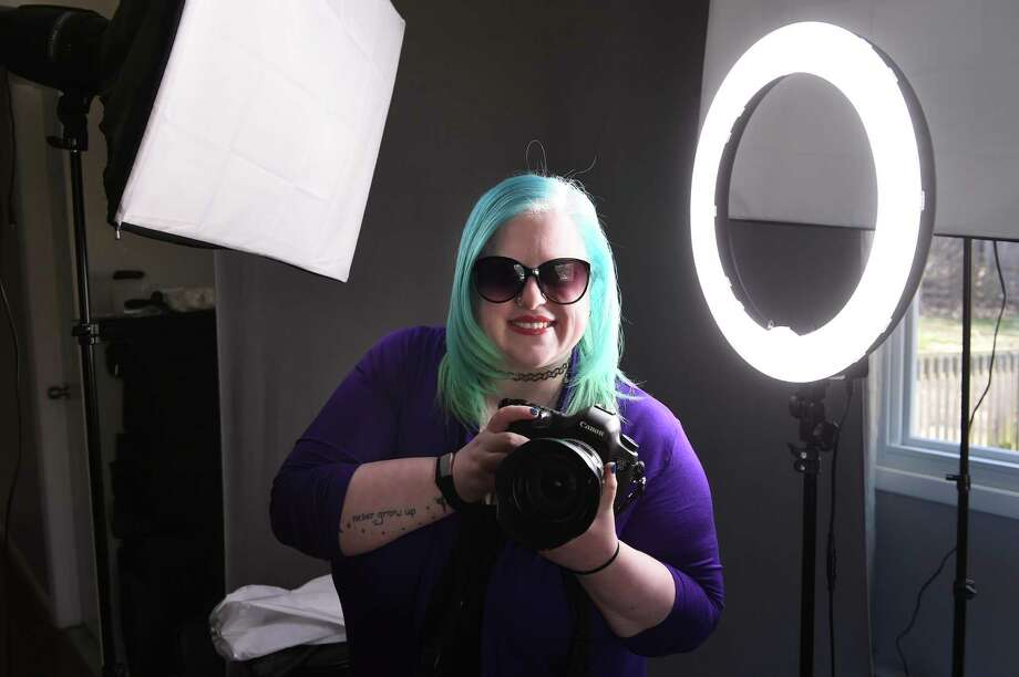 """Photographer Alexandra """"Lexi"""" Crocco is photographed in her home studio in Orange on April 10, 2019. Photo: Arnold Gold / Hearst Connecticut Media / New Haven Register"""