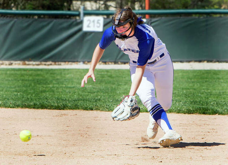 LCCC shortstop Lauren Meadows field the ball during action earlier this season against Parkland at LCCC. Meadows is hitting .385 with 13 RBIs, a home run, four triples and three doubles for the Trailblazers. Photo: Jan Dona | For The Telegraph