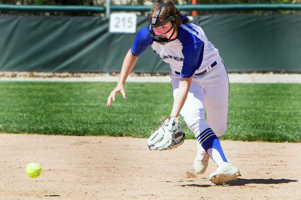 LCCC shortstop Lauren Meadows field the ball during action earlier this season against Parkland at LCCC. Meadows is hitting .385 with 13 RBIs, a home run, four triples and three doubles for the Trailblazers.