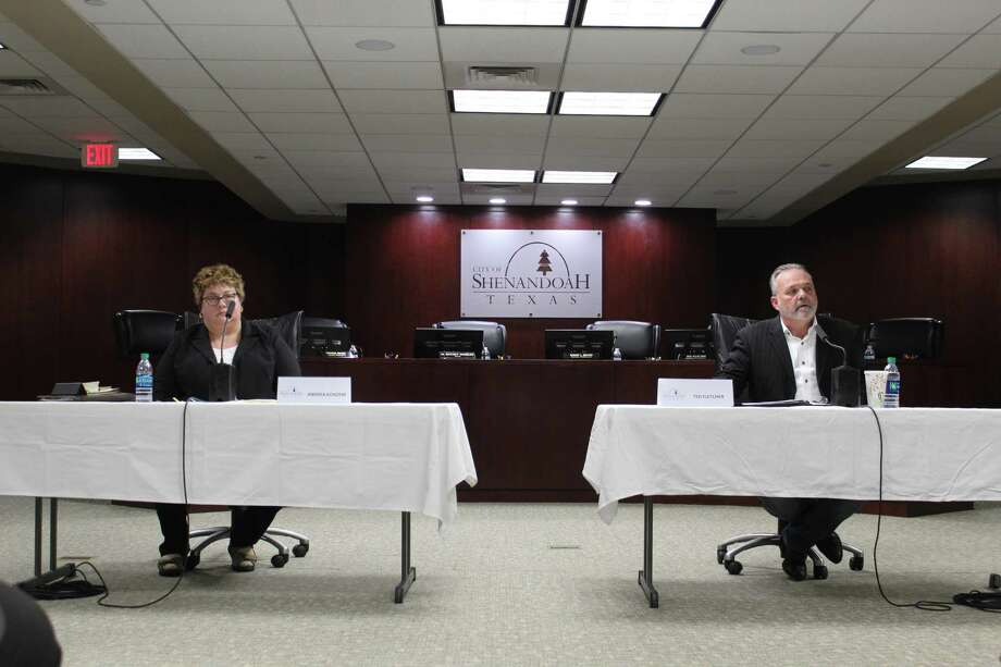 Andrea Konzem, a candidate for Shenandoah City Council position 2, and Ted Fletcher, the incumbent, shared their platforms during a candidate forum Thursday, April 18. Fletcher defeated Konzem by a wide margin to secure his second term on the council. Photo: Jane Stueckemann / The Villager