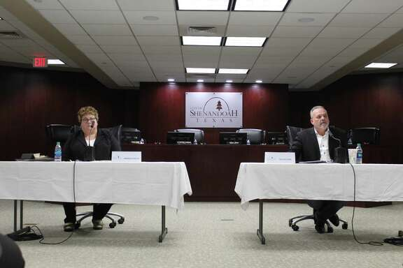 Andrea Konzem, a candidate for Shenandoah City Council position 2, and Ted Fletcher, the incumbent, share their platforms during the candidate forum Thursday, April 18.