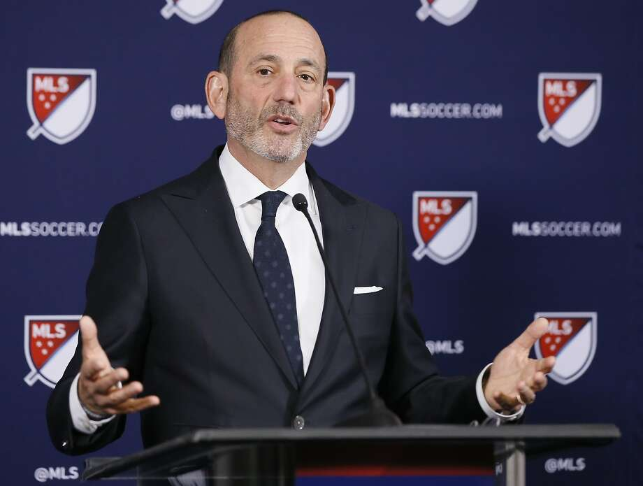 MLS Commissioner Don Garber speaks at April's news conference when Sacramento and St. Louis were invited to submit formal bids for franchises. Photo: Alex Gallardo / Associated Press