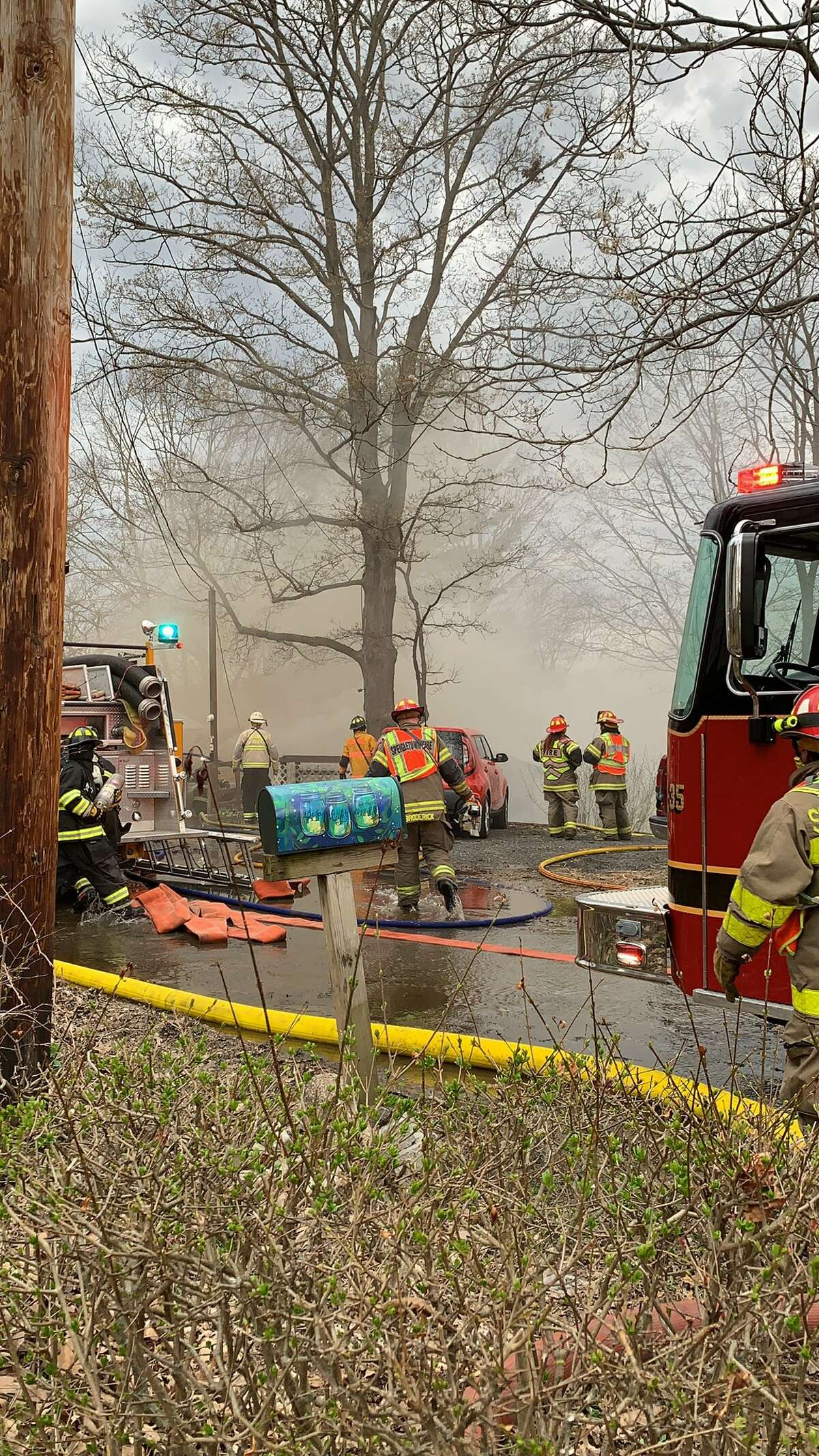 Firefighters attack house fire in Pleasantdale, Rensselaer County on Friday April 19, 2019.