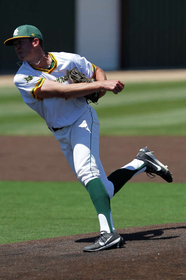 Midland College's Jack Junker pitches against Odessa College in game one of a doubleheader April 19, 2019, at Christensen Stadium. James Durbin / Reporter-Telegram Photo: James Durbin / Midland Reporter-Telegram / ? 2019 All Rights Reserved