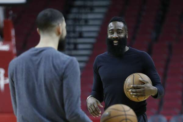 1bded237c3a 1of107PHOTOS  Game 2 - Rockets vs. Jazz Houston Rockets guard James Harden  laughs with Austin Rivers during the Houston Rockets practice at the Toyota  ...