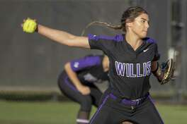 Willis pitcer Ashley Vallejo (2) winds up for a pitch during a District 20-5A softball game Tuesday, March 26, 2019 in Willis.