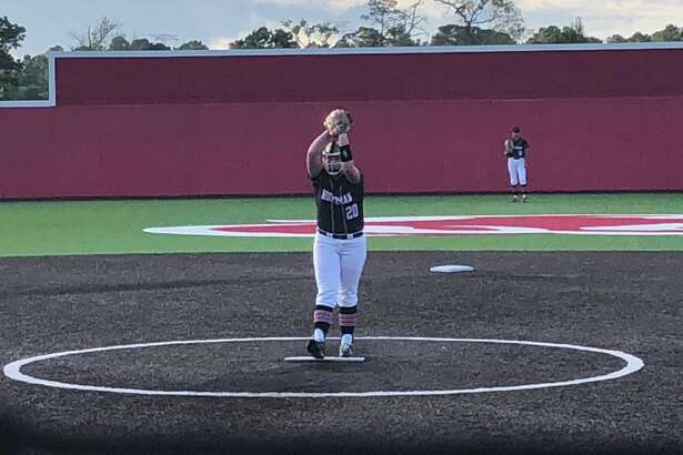 Katy Janes pitched a complete game two-hit shutout in Hargrave's 1-0 win over Livingston on April 18 in Crosby