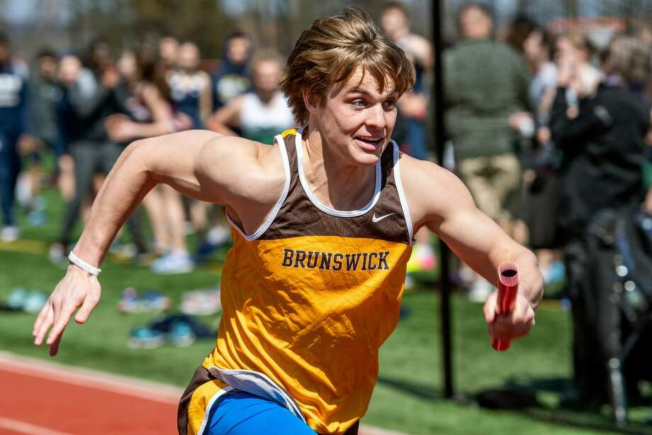 Harry Barringer of Brunswick School placed first in the long jump and javelin events in the Bruins' recent meet against Trinity-Pawling School and Taft School. He also was part of Brunswick's winning 4x100-meter relay team. Photo: Contributed Photo / (c) 2019 Brunswick School