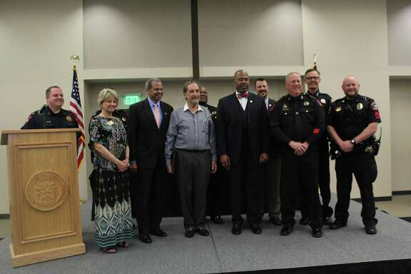 Due to his participation in local public safety, the Houston Northwest Chamber of Commerce honored Larry Lipton (center) with a scholarship in his name on April 11, 2019.