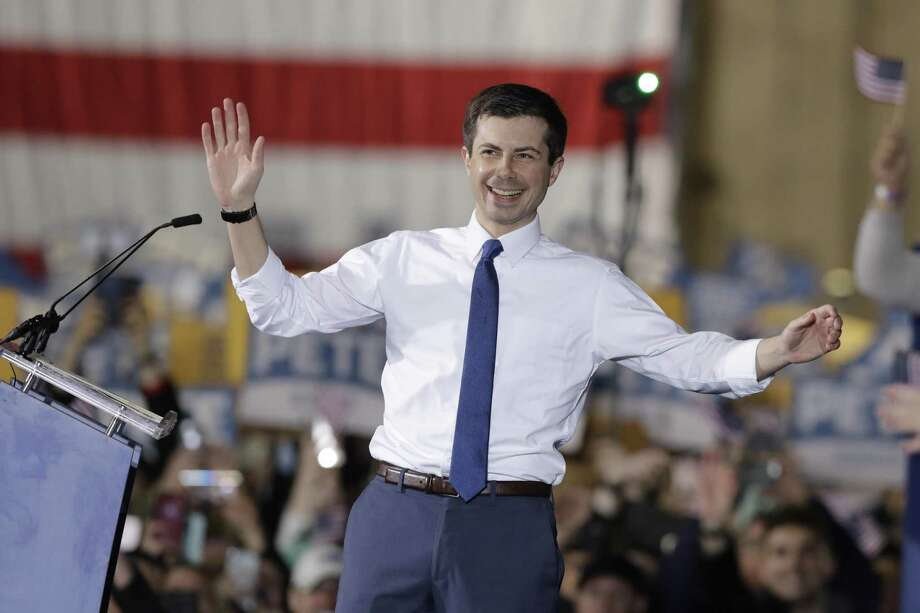 South Bend Mayor Pete Buttigieg announces that he will seek the Democratic presidential nomination during a rally April 14, 2019, in South Bend, Ind. Photo: Darron Cummings /AP / Copyright 2019 The Associated Press. All rights reserved.