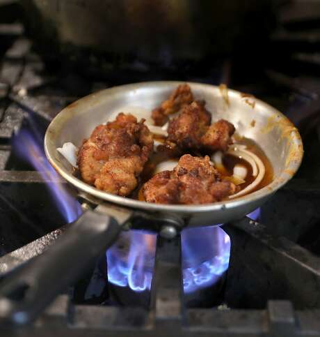 Chicken being made at Aburaya on Friday, April 5, 2019, in Oakland, Calif. Aburaya is a punk rock-themed Japanese fried chicken restaurant which started as a pop-up. Photo: Liz Hafalia / The Chronicle
