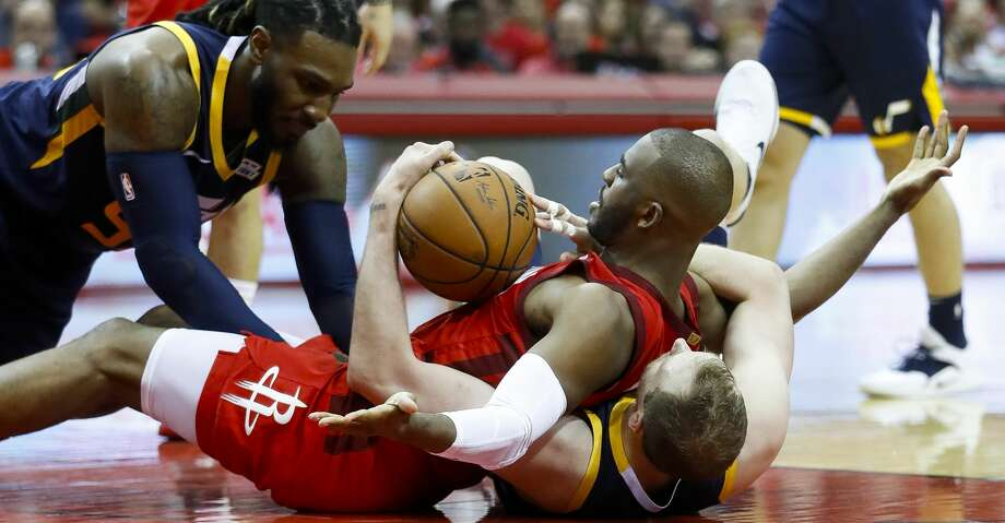 PHOTOS: Rockets game-by-game Houston Rockets guard Chris Paul (3) tries to call for a timeout while battling for a loose ball with Utah Jazz forward Jae Crowder (99) and forward Joe Ingles (2)  the second half of game 2 during  the NBA playoffs at the Toyota Center in Houston, Wednesday, April 17, 2019. Browse through the photos to see how the Rockets fared in each game this season. Photo: Karen Warren/Staff Photographer