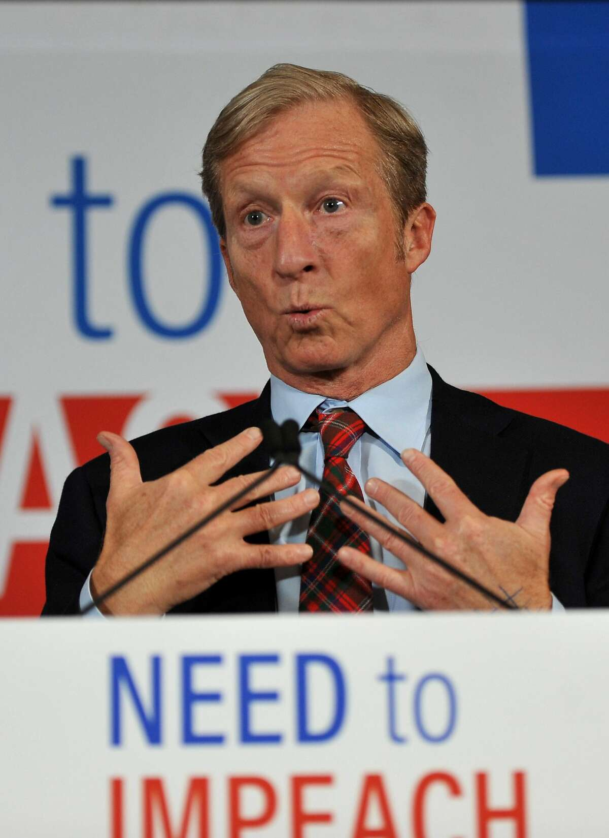 DES MOINES, IA - JANUARY 09: Billionaire Activist Tom Steyer speaks to supporters on January 9, 2019 in Des Moines, Iowa. Steyer announced that he would not run for president in 2020, and would instead concentrate his efforts on the possibility of impeach