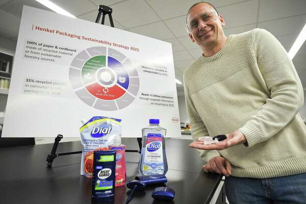 Joel Faaborg, Henkel's director of package development, shows products in development, in the company's research-and-development center at 200 Elm St., in Stamford, Conn.