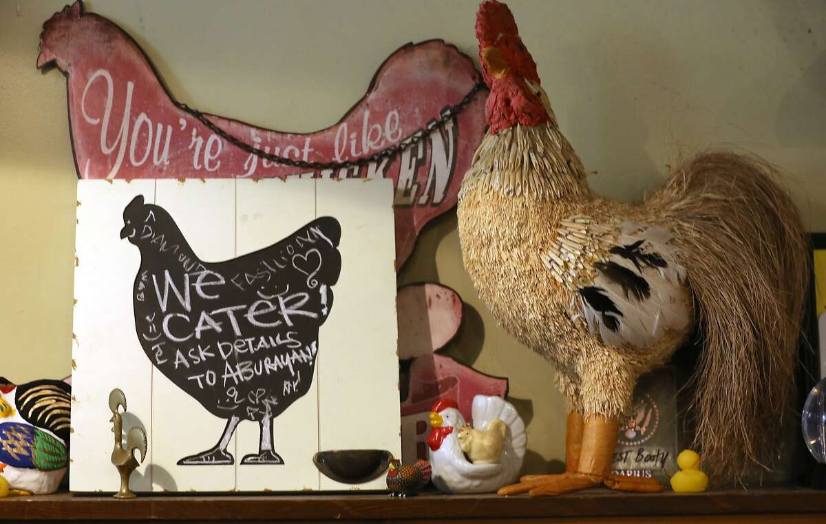 Display of chickens and roosters at Aburaya seen on Friday, April 5, 2019, in Oakland, Calif. Aburaya is a punk rock-themed Japanese fried chicken restaurant which started as a pop-up.