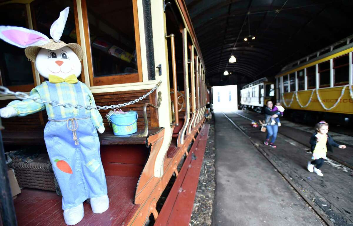 East Haven, Connecticut - Friday, April 19, 2019: An annual ritual to celebrate spring, visitors to the Shore Line Trolley Museum in East Haven bring their children Friday to the annual meet-and-greet with the