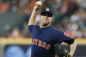 HOUSTON, TEXAS - APRIL 07: Brad Peacock #41 of the Houston Astros throws in the first inning against the Oakland Athletics at Minute Maid Park on April 07, 2019 in Houston, Texas. (Photo by Bob Levey/Getty Images)