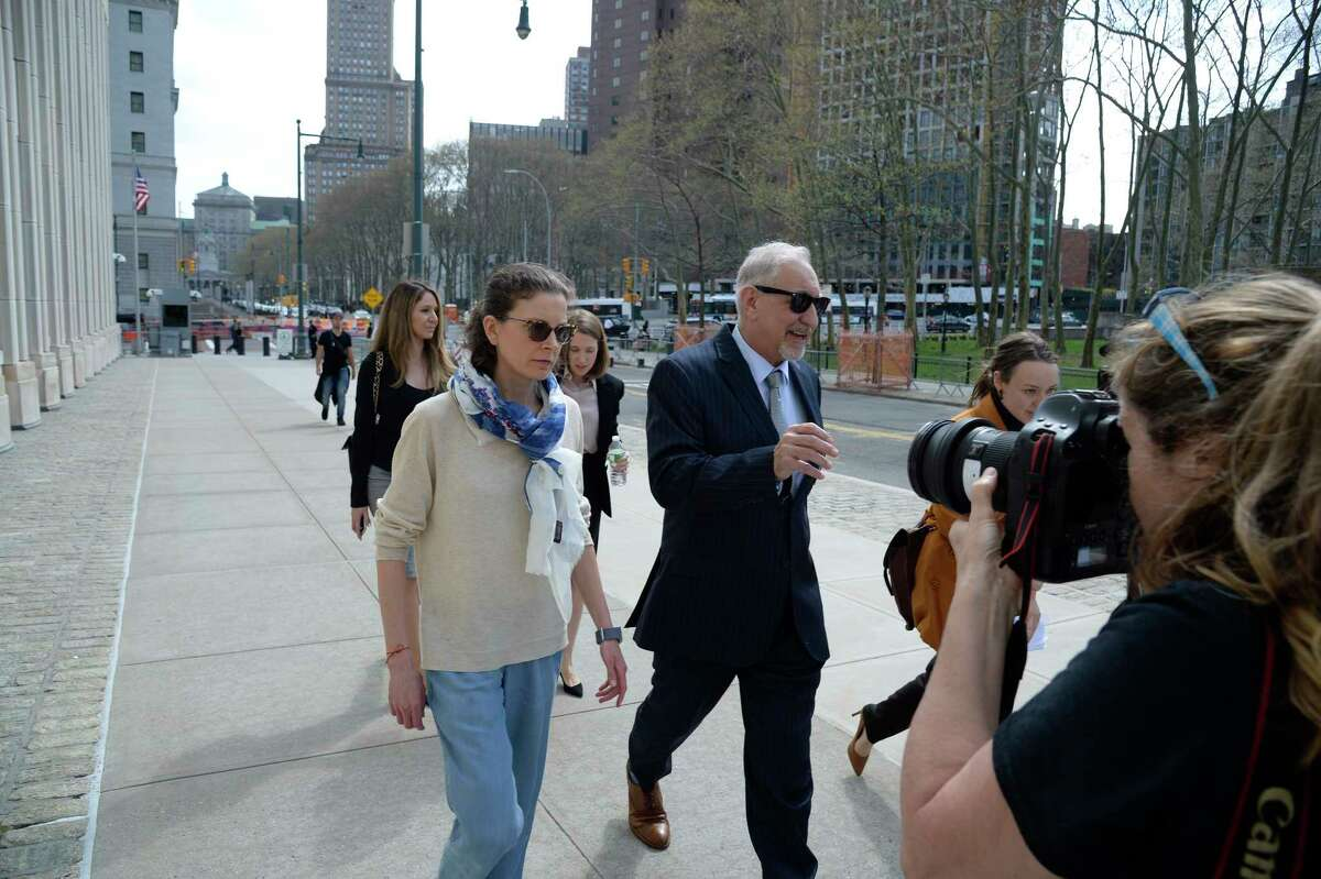 Seagram's heiress Clare Bronfman arrives at Federal District Court in Brooklyn on Friday, April 19, 2019. Bronfman was among the most high-profile members of a cultlike group in which women were branded, an heiress to the Seagram liquor fortune whose wealth helped finance the group, known as Nxivm.