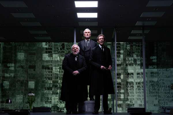 """From left: Simon Russell Beale, Ben Miles and Adam Godley, who play multiple roles, in """"The Lehman Trilogy"""" in New York, March 21, 2019. """"The Lehman Trilogy"""" is a theatrical panorama of the firm's history and collapse. Lehman descendants and onetime employees have taken a keen interest. (Caitlin Ochs/The New York Times)"""