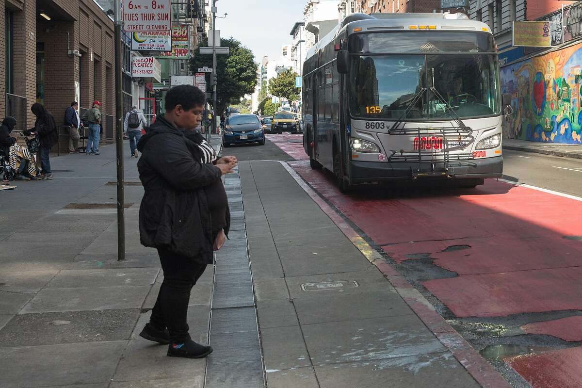 The 27 Bryant bus line approaches its stop at the Jones and O'Farrell Street intersection on its way towards SoMa. Friday, April 19, 2019. San Francisco, Calif.