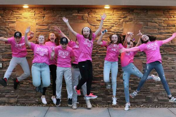 Carli O'Hara, Carissa Shanahan and Ava Hotaling, Cohoes Middle School Students and organizers of Real Kids Wear Pink, are pictured among other student ambassadors looking to raise $50,000 for Breast Cancer Research by October. (Photo provided)