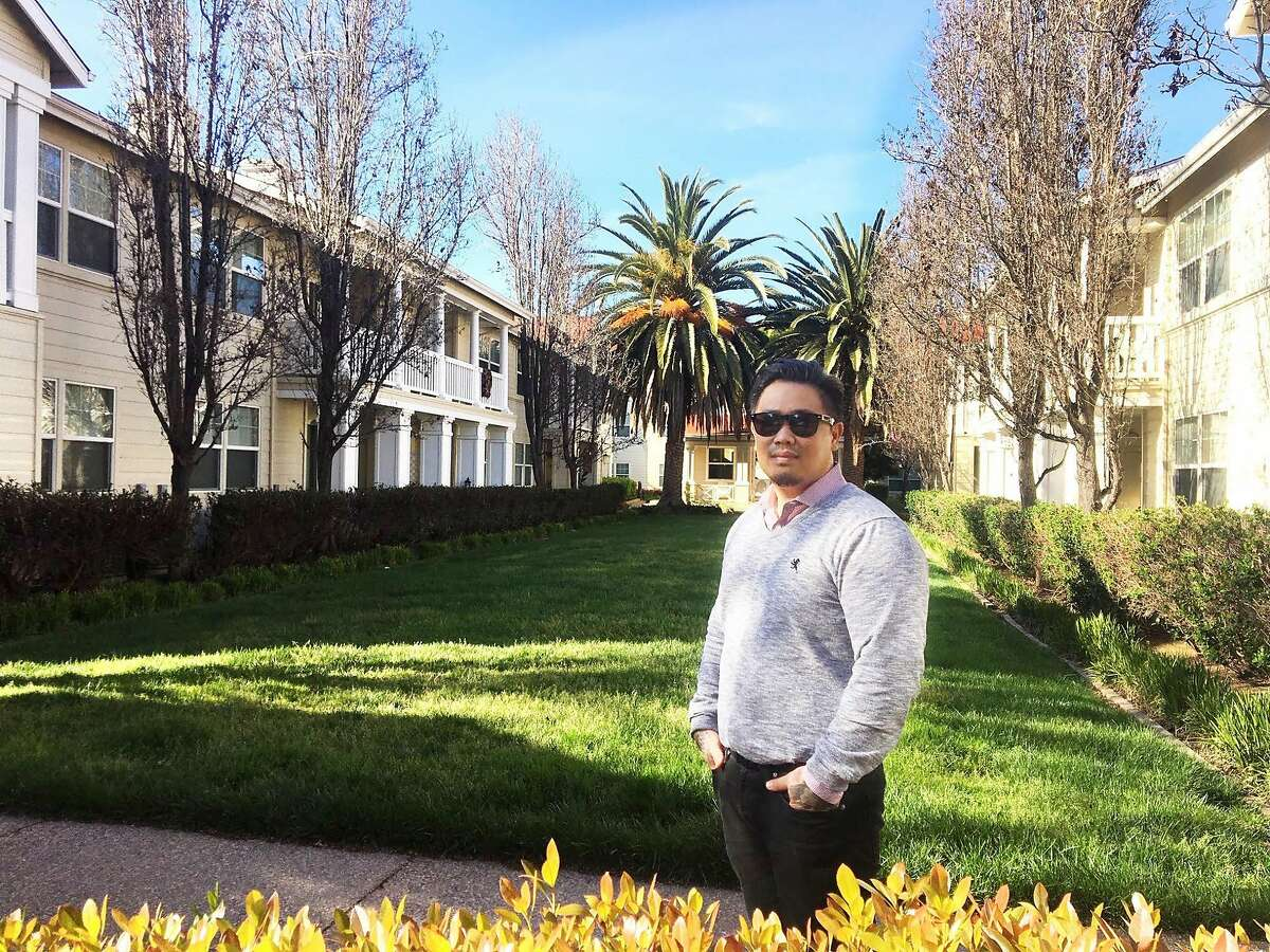 Culinary arts teacher Riki Manzon at teacher housing complex Casa de Maestro in Santa Clara, Calif. where he rents a one-bedroom.