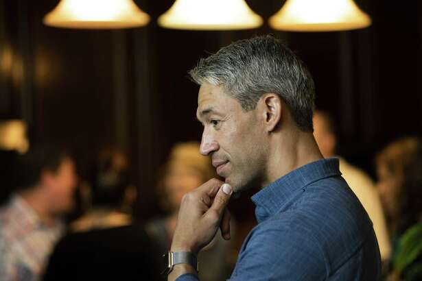 San Antonio Mayor Ron Nirenberg, speaks with supporters during a meet and greet at a home in San Antonio on Saturday, April 13, 2019.