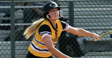 Klein Oak sophomore Allie Saville works at the plate against Memorial during their Katy ISD Softball Invitational matchup at Morton Ranch High School on Feb. 14, 2019.