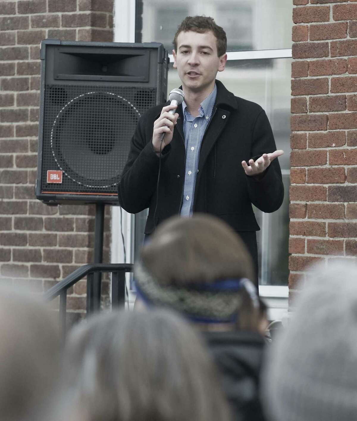 State Senator Will Haskell with remarks at a rally against Senate Bill 454, held in front of Town Hall in Ridgefield. Saturday, Feb. 23, 2019