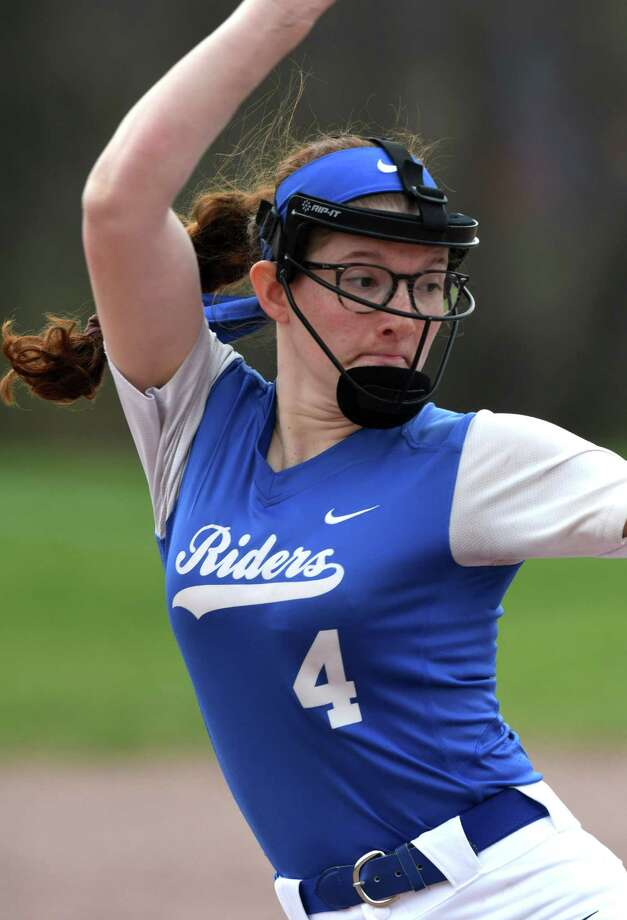 Ichabod Crane pitcher Isabella Milazzo delivers a perfect game against Maple Hill on Friday, April 19, 2019, at Maple Hill High School in Castle-on-Hudson, N.Y.  (Will Waldron/Times Union) Photo: Will Waldron / 40046730A