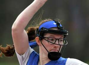 Ichabod Crane pitcher Isabella Milazzo delivers a perfect game against Maple Hill on Friday, April 19, 2019, at Maple Hill High School in Castle-on-Hudson, N.Y.  (Will Waldron/Times Union)
