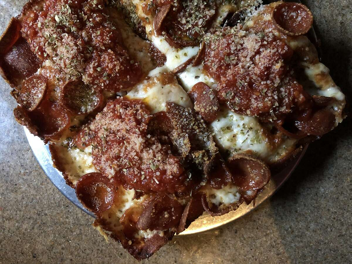 The classic pizza with pepperoni at Cellarmaker House of Pizza in San Francisco.
