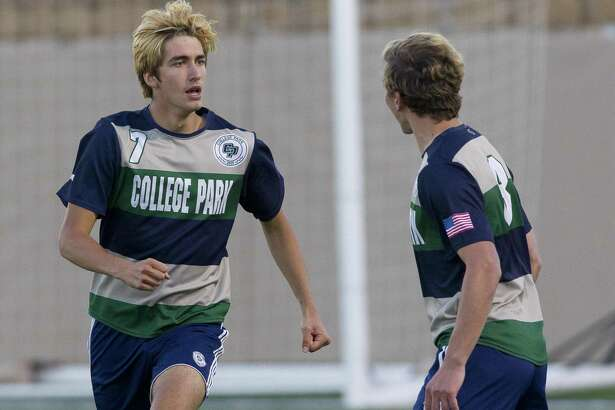 College Park forward Axel Hevener (7) is seen after scoring a goal in the first period of a Class 6A boys state semifinal match during the UIL State Soccer Championships at Birkelbach Field, Friday, April 19, 2019, in Georgetown.